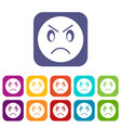 annoyed emoticons set vector image vector image