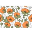 art poppy pattern vector image vector image