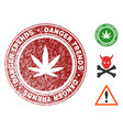cannabis danger trends seal with distress style vector image vector image