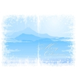 Christmas background with mountain view vector image vector image