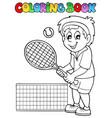 coloring book cartoon tennis player vector image