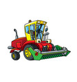 combine or lawn mower with eyes vector image