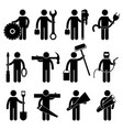 construction worker job icon pictogram sign vector image vector image