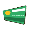credit card bank green color sketch vector image