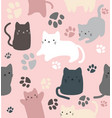cute cats doodle in different style seamless vector image vector image