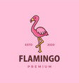 cute flamingo cartoon logo icon vector image vector image