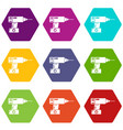 drill icons set 9 vector image vector image