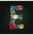 E letter Flower capital alphabet Colorful font vector image vector image