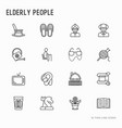 elderly people thin line icons set vector image vector image