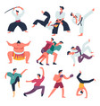 fighting sportsmen oriental fight arts isolated vector image