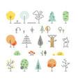 Forest trees line icons with simple geometric