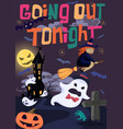 halloween poster with witch bats and ghost vector image