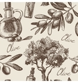 Hand drawn vintage olive seamless pattern vector image vector image