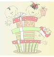 happy children with gift vector image