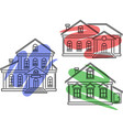 icons with buildings and dye vector image vector image