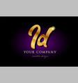 id i d 3d gold golden alphabet letter metal logo vector image vector image