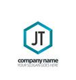 initial letter jt hexagon box creative logo black vector image vector image