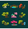 Japanese Style Trees Set vector image vector image