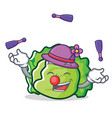 juggling lettuce character mascot style vector image