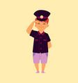 kid boy pretends a policeman in police uniform vector image vector image