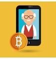 man smartphone bit coin vector image