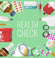 medicine first aid kit stethoscope and syringe vector image