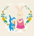 mothers day greeting cardbarabbit gives mom vector image