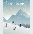 mountains and skiing vector image vector image