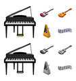 musical instrument cartoonmonochrome icons in set vector image vector image