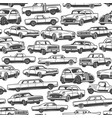 old retro cars and vintage automobile pattern vector image vector image
