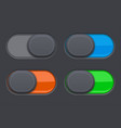 on and off toggle switch buttons colored 3d oval vector image vector image