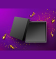 open gift black box top view vector image vector image
