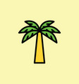 Palm icon thin line on color background
