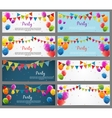 Party Background Baner Set with Flags and Balloons vector image vector image
