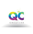 qc q c colorful letter origami triangles design vector image vector image