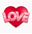Red Valentine heart with love text vector image vector image