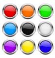 round buttons glass colored icons with chrome vector image vector image