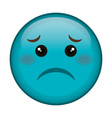 sad face emoticon kawaii character vector image vector image