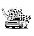 set colorful fast retro motor racing cars vector image