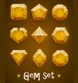 set realistic yellow gems various shapes vector image