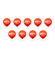 set sale tags red pin discount stickers pack vector image vector image