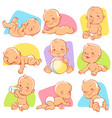 set with cute little baby in different situations vector image vector image