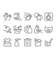 simple set of cleaning related flat line icons vector image vector image