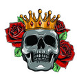 skull wearing a king crown vector image vector image