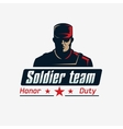 soldier team logo template serious man vector image vector image