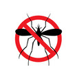 stop malaria sign prohibitory symbol mosquito vector image