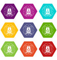 waste recycling icons set 9 vector image