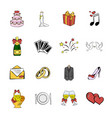wedding icons set cartoon vector image vector image