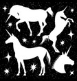 white unicorn silhouettes set with stars on black vector image
