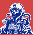 woman astronaut on red background vector image